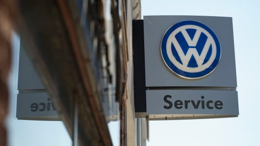 A sign marks the location of a Volkswagen dealership in Evanston, Ill.