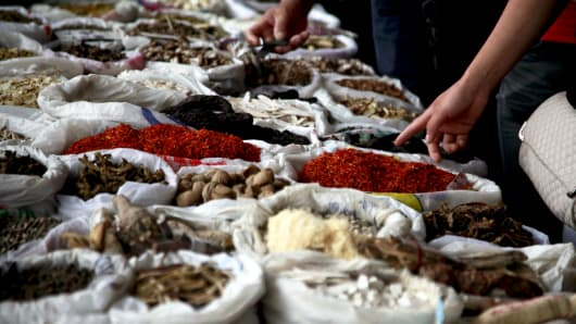 Products are for sale at a traditional Chinese medicine market in Bozhou, Anhui Province, China.