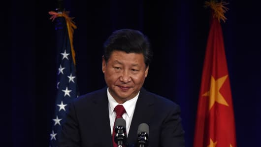 Chinese President Xi Jinping during his welcoming banquet at the start of his visit in Seattle on September 22, 2015