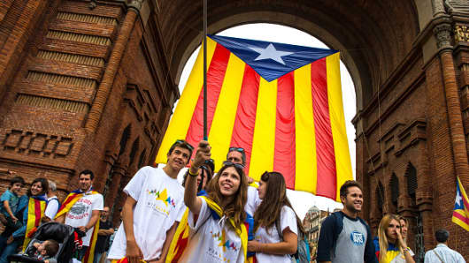 People at a Catalan Pro-Independence demonstration celebrating the Catalan National Day on September 11, 2015.
