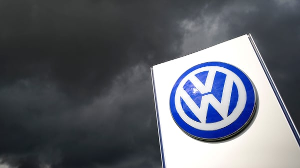 Rain clouds are seen over a Volkswagen symbol at the main entrance gate at Volkswagen production plant in Wolfsburg, Germany.
