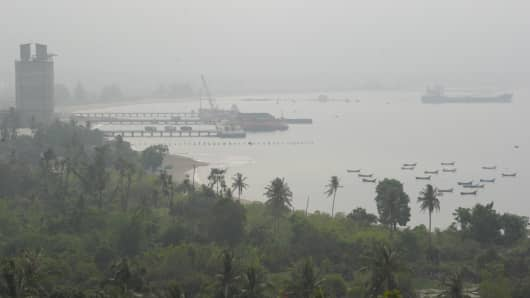 Haze shrouds a local port in Malahayati, in the city of Banda Aceh on Indonesia's Sumatra island in September, 2015.
