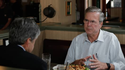 Jeb Bush talks to CNBC's John Harwood at the Parlor City Pub and Eatery in Cedar Rapids, Iowa.