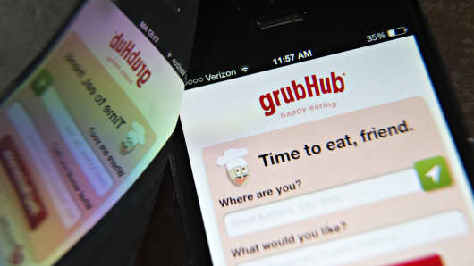 The GrubHub Inc. app is displayed on an Apple Inc. iPhone 5 in Tiskilwa, Illinois, U.S., on Wednesday, April 2, 2014.