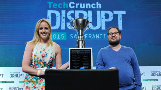 CEO Allison Kopf and CTO Jason Camp from Agrilyst celebrate winning Startup Battlefield during TechCrunch Disrupt SF 2015 at Pier 70 on Sept. 23, 2015, in San Francisco.