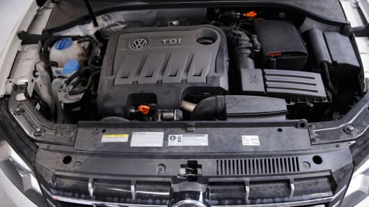 The engine of a 2013 Volkswagen AG Passat TDI