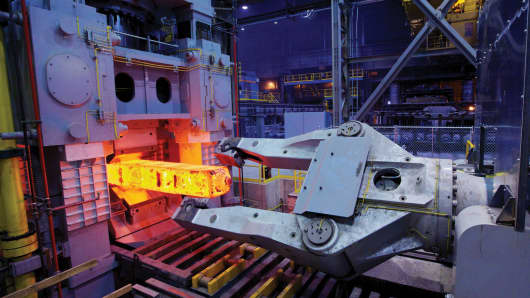 The TimkenSteel 3,300-ton in-line forge press at the Faircrest Steel Plant in Canton, Ohio.