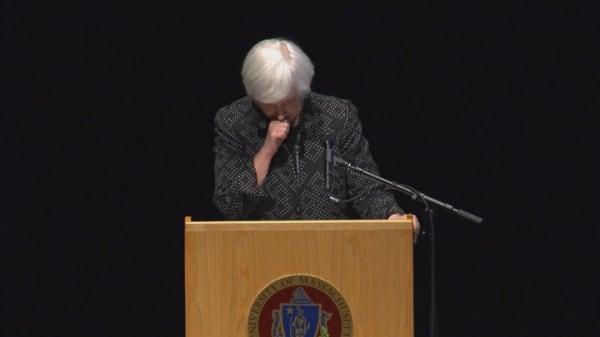 Janet Yellen cuts speech short