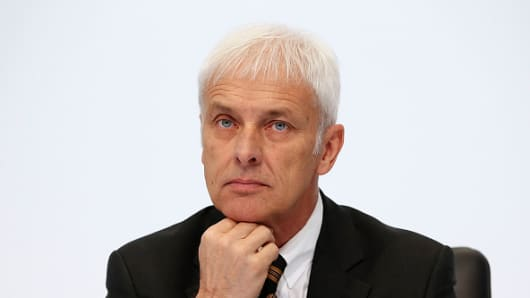 Matthias Mueller, CEO of Porsche AG attends the Porsche AG annual press conference on March 2015 in Stuttgart, Germany.