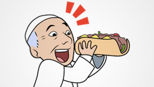 Pope Francis cheesesteak emoji