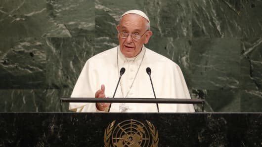 Pope Francis addresses the UN General Assembly on Sept. 25, 2015.