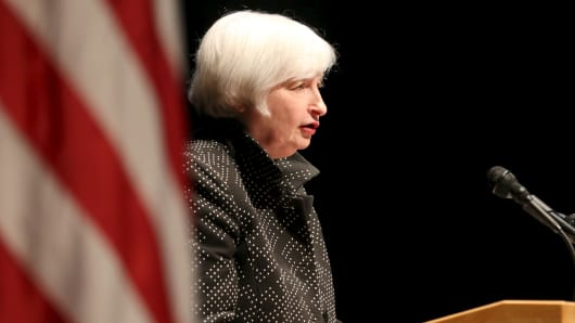 Federal Reserve Chair Janet Yellen speaks at the University of Massachusetts in Amherst, Massachusetts on Sept. 24, 2015.
