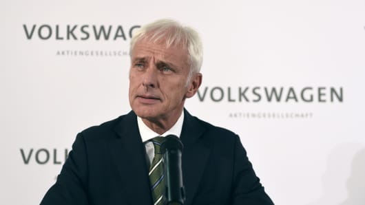 Matthias Mueller addresses a news conference at Volkswagen's headquarters in Wolfsburg, Germany, on Sept. 25, 2015.