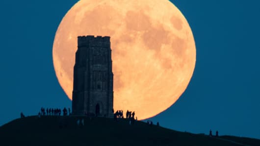 The supermoon rises behind Glastonbury Tor on September 28, 2015 in Somerset, England.