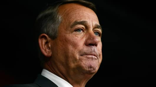 House Speaker John Boehner announces his resignation during a press conference on Capitol Hill September 25, 2015 in Washington, DC.
