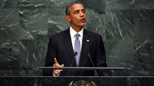 Barack Obama, addresses the 70th Session of the UN General Assembly September 28, 2015 in New York.