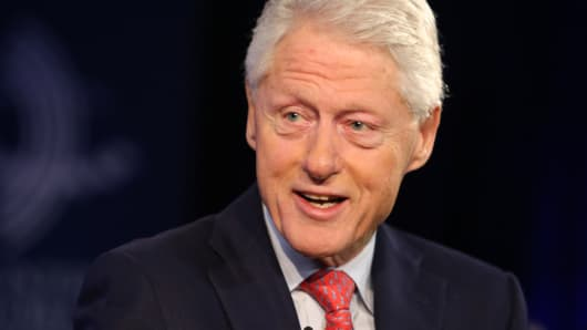 Bill Clinton speaking at the Clinton Global Initiative in New York, September 28, 2015.