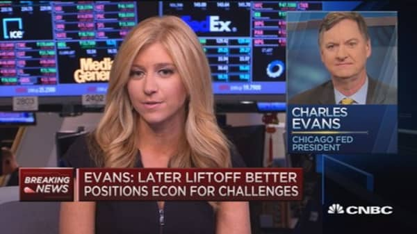 Fed's Evans: Later liftoff better