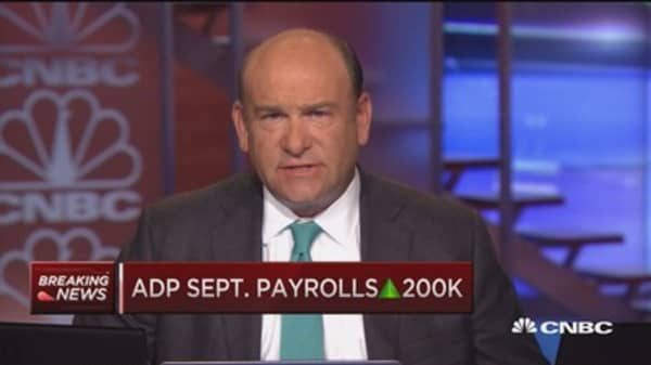 ADP September payrolls up 200K