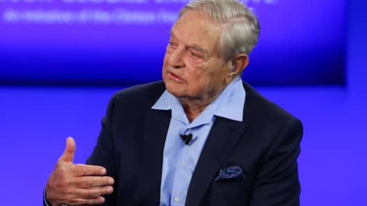 George Soros speaking at the 2015 CGI Annual Meeting in New York.