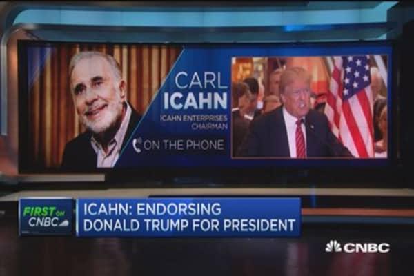 Icahn endorses Trump for president