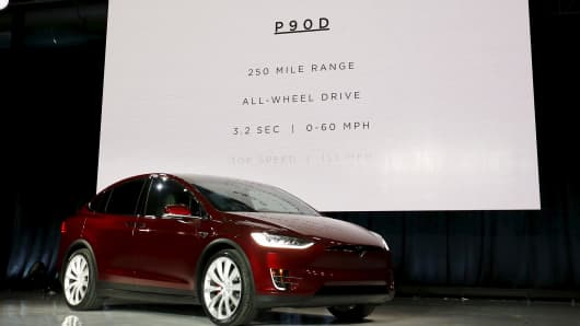 A Tesla Motors Model X P90D electric sports-utility vehicle is displayed during a presentation in Fremont, California, September 29, 2015.