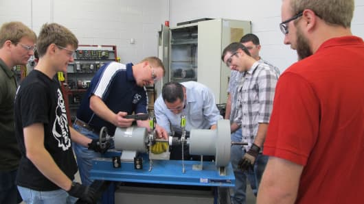 Students in Wind Energy program at Texas State Technical College in Sweetwater, TX.
