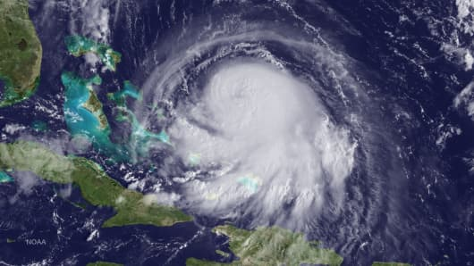 In this handout from the National Oceanic and Atmospheric Administration (NOAA), Hurricane Joaquin is seen chruning in the Caribbean September 30, 2015.