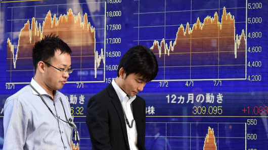 Pedestrians walk pass a share prices board in Tokyo, Japan.
