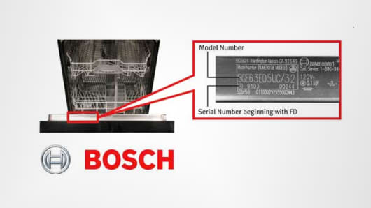 A Bosch dishwasher and serial number