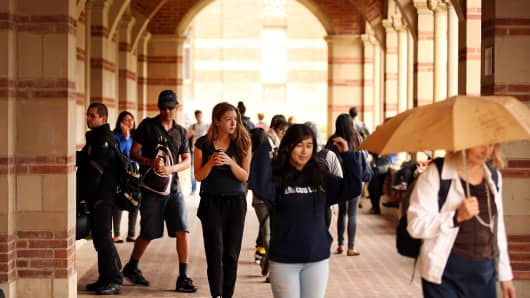Students at Royce Hall on the UCLA campus in Los Angeles.