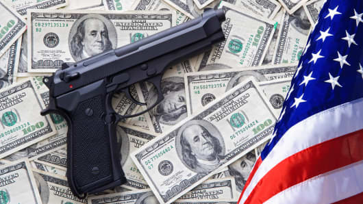 Guns money American flag