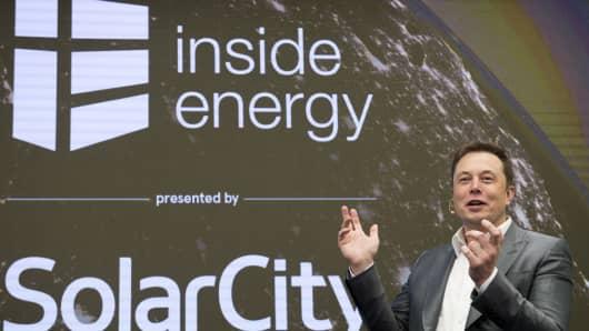 Elon Musk, Chairman of SolarCity and CEO of Tesla Motors, speaks at SolarCityÕs Inside Energy Summit in Manhattan, New York October 2, 2015.