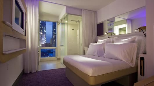 Yotel hotel room.