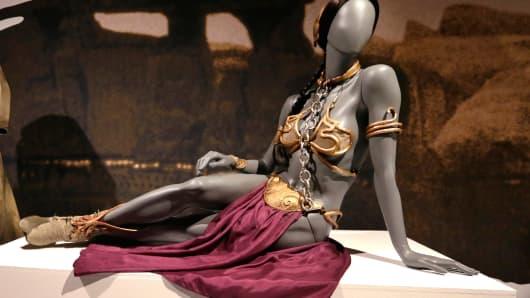 Princess Leia's slave bikini on display.