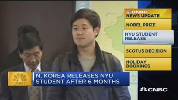 CNBC update: N. Korea releases NYU student