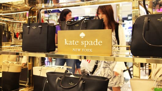 Kate Spade bags on sale at Macy's in New York.
