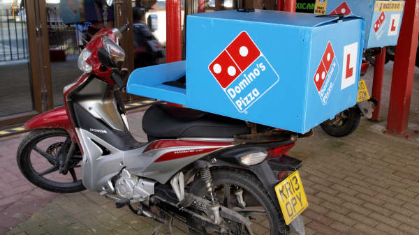 Domino's Pizza delivery motorbike.