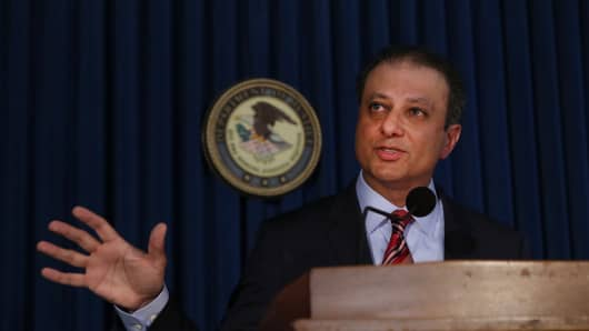 The office of Preet Bharara, U.S. attorney of the Southern District of New York.