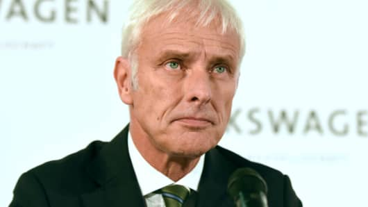 Volkswagen CEO Matthias Mueller addresses a news conference at Volkswagen's headquarters in Wolfsburg, Germany, on September 25, 2015.