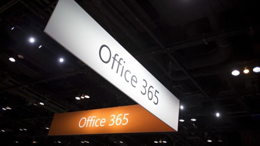 The Microsoft Office 365 logo is seen as part of a display at the Microsoft Ignite technology conference in Chicago.