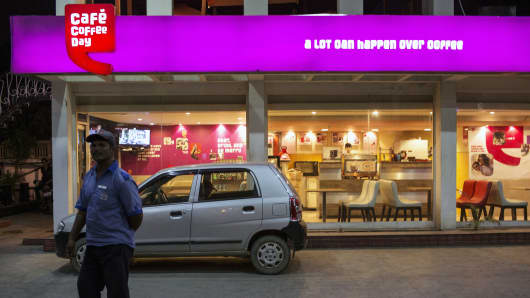 A Cafe Coffee Day store, operated by Amalgamated Bean Coffee Trading Co., in Jaipur, Rajasthan, India.