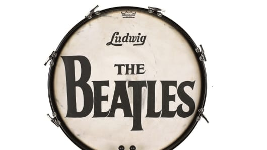 """The Beatles T-Logo Drum Head From Their 1964 U.S. Appearance on """"The Ed Sullivan Show"""""""