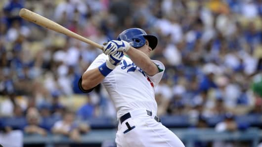 Joc Pederson of the Los Angeles Dodgers hits a two-run home run against the San Diego Padres at Dodger Stadium on Oct. 4, 2015.