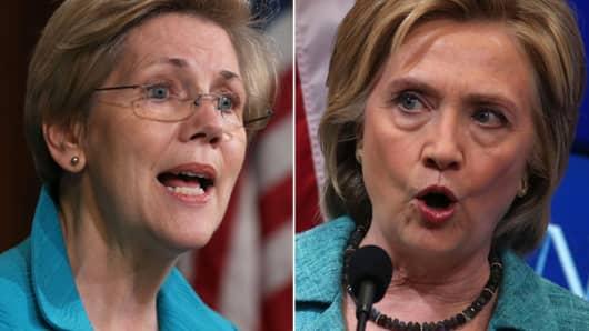 Elizabeth Warren (L) and Hillary Clinton (R).