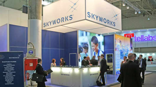 A Skyworks Solutions display at a trade show.