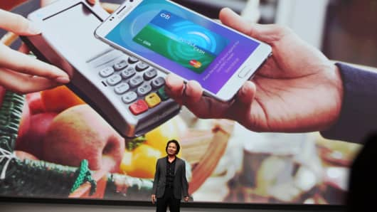 Injong Rhee, head of Samsung Pay, speaks at the Samsung Unpacked Phone Launch last August in New York City.