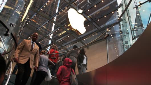 Shoppers at an Apple store in New York