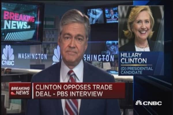 Clinton opposes TPP: PBS interview