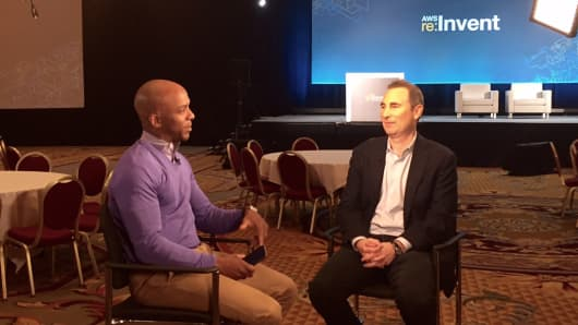 Andy Jassy speaks with CNBC's Jon Fortt at the AWS event October 7, 2015.
